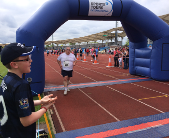 Graham crosses the finish line!